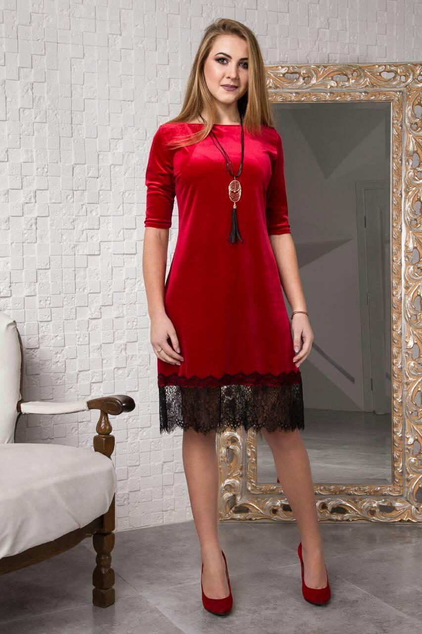 b7d1e5f590d Благородное женское платье из красного велюра и черного гипюра  размер 44