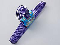 Плечики детские проволочные в порошковой покраске фиолетовые, 29,5 см, 10 штук в упаковке