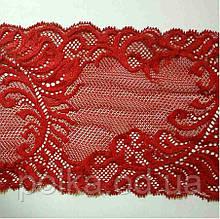 Кружево стрейчевое -680,ширина 14.5см, цвет красный