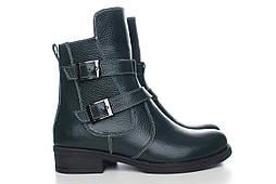 Зимние кожаные ботинки женские, зелёные, из натуральной кожи, натуральная кожа