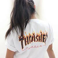 Футболка Thrasher (Трешер), белый огняной