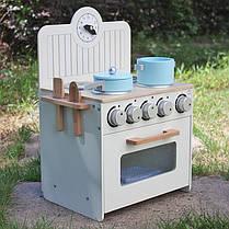 Детская деревянная кухня  Wooden Toys Mini + посуда, фото 3