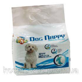 Подгузники для собак Dog Nappy, размер М, на 3-6 кг (25-33 см), 12 шт\уп