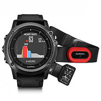 Умные часы Garmin Fenix 3 Sapphire HR – Gray Performer Bundle with black silicone band