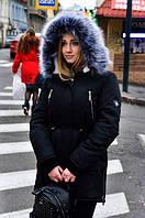 Женская зимняя куртка (парка) на меху черная, фото 1