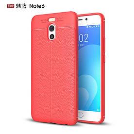 Чехол накладка для Meizu M6 Note силиконовый, Фактура кожи, красный