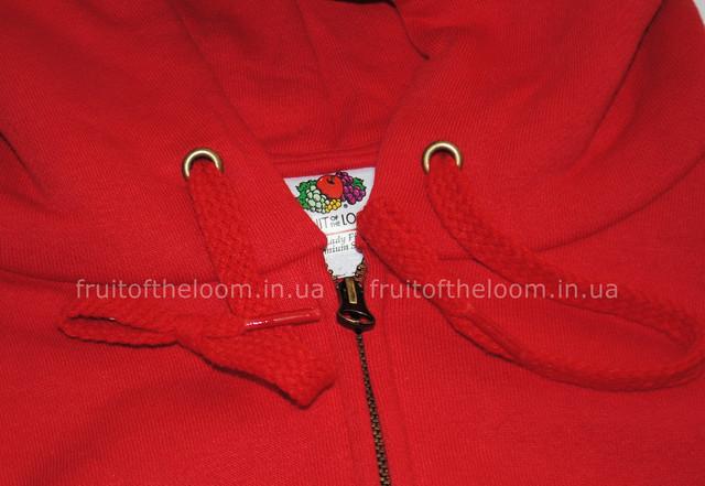 Красная женская премиум толстовка с капюшоном на замке