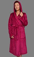 Длинный махровый халат женскийна поясе теплый домашний зимний велсофт мягкийс капюшоном