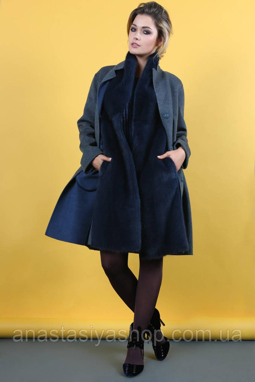 Зимнее пальто-трансформер с мехом норки