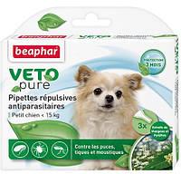 Капли против блох для собак Beaphar Veto Pure Spot On БИО, до 15кг (3 пипетки)