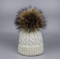 Женская вязаная шапка, бубон из меха енота  5П1324