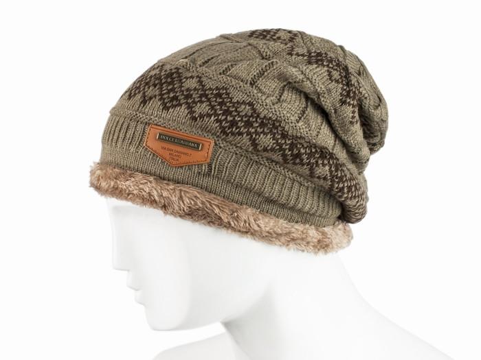Вязаная шапка бини утепленная Lear