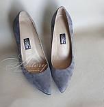 Женские серые замшевые туфли на толстом каблуке, фото 2