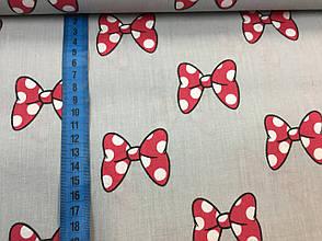 """Польская хлопковая ткань """"красные бантики мики на сером"""", фото 2"""
