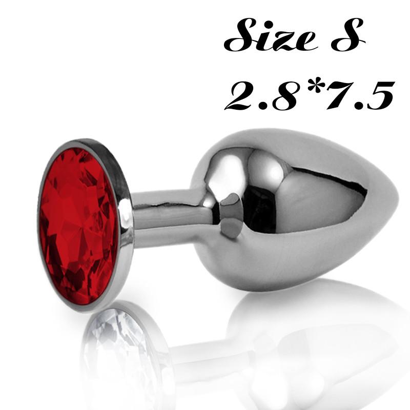 Малая анальная пробка S с красным стразом в чехле 2.8*7.5 см Металлическая