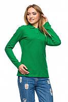 Футболка поло женская с длинным рукавом зеленого цвета