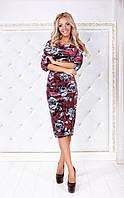 Платье женское бархат 1467 бордо