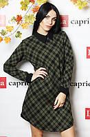 Женское платье выше колена, теплое (цвет хаки) / Женское платье в английскую клетку, стильное