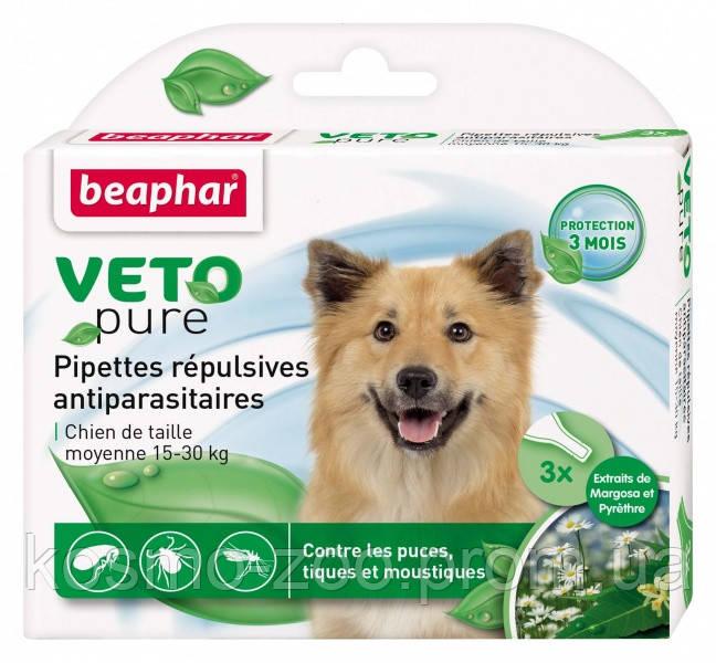 Капли против блох для собак Beaphar Veto Pure Spot On БИО, 15-30 кг (3 пипетки)