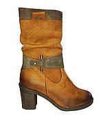 Зимние полусапожки женские кожаные коричневые Kordel 4453