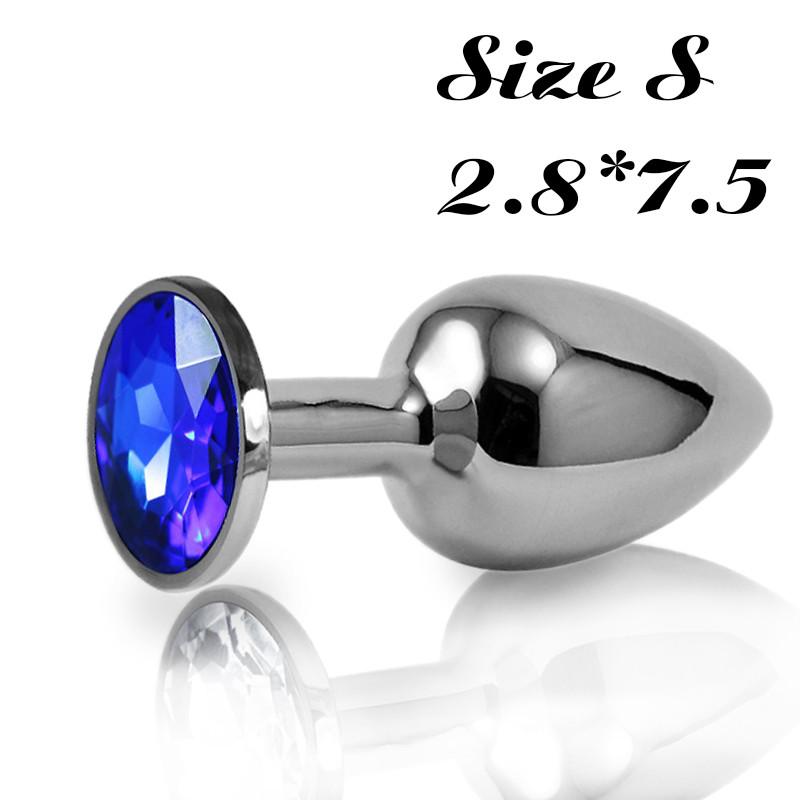 Малая анальная пробка S с синим стразом в чехле 2.8*7.5 см Металлическая