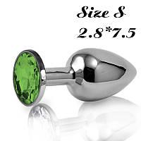 Анальная пробка, плаг с кристаллом+ чехол 2.8*7.5 см.Зеленая