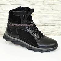 Ботинки мужские на шнуровке и молнии, натуральная кожа и замши черного цвета, зима/осень