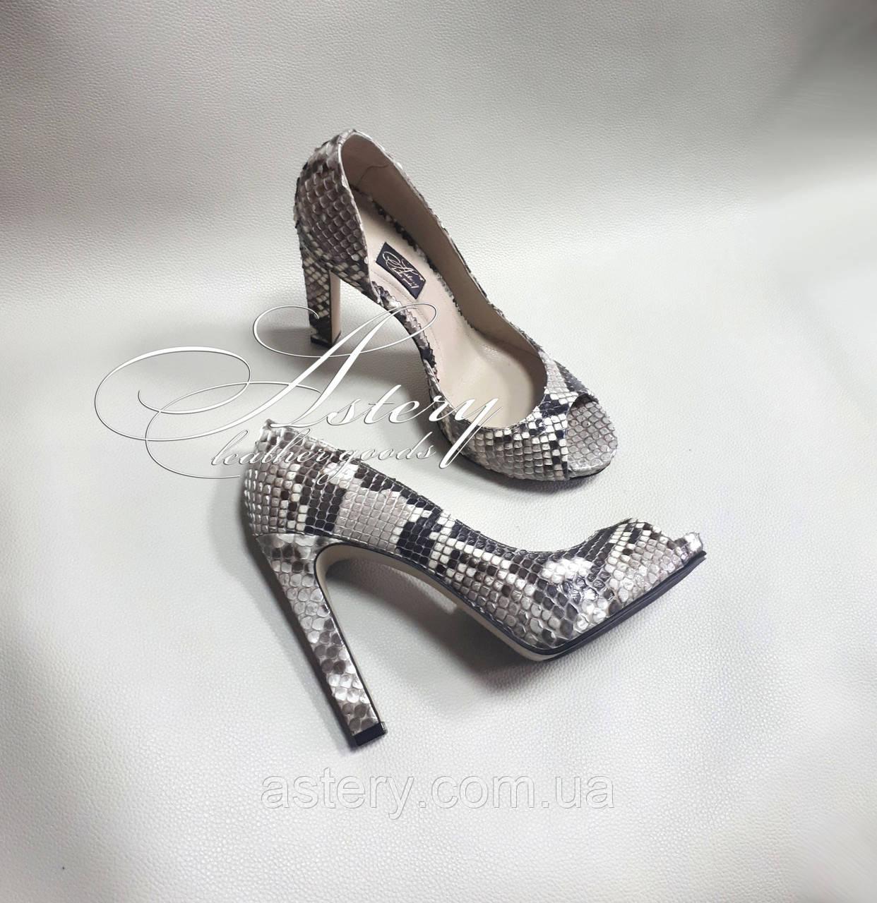 Жіночі сірі туфлі з пітона з відкритим носком