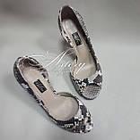 Жіночі сірі туфлі з пітона з відкритим носком, фото 2