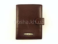 Мужской кожаный кошелек вертикальный - портмоне двойного сложения коричневый