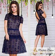 Шикарное гипюровое платье декорировано кружевом Код:541362516