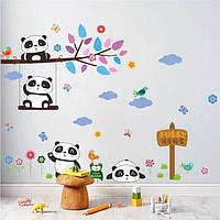 Наклейка на стену, виниловые наклейки Панды на отдыхе 65*90см (лист 90*30см)