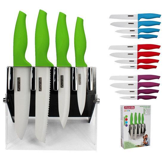 Набор керамических ножей Kamille: 4 ножа на акриловой подставке в подарочной коробке