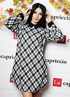 Женское платье выше колена, теплое (цвет серый) / Женское платье в английскую клетку, стильное