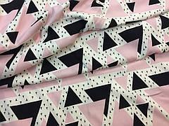 """Ткань бамбуковая, муслин плоский """"треугольники розовые"""""""