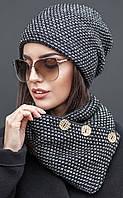Женский комплект вязаная шапка и хомут на пуговицах Koker (разные цвета)
