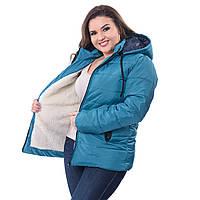 Куртка женская большого размера на овчинке зимняя   K227HG