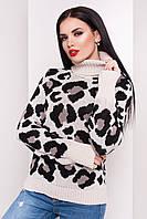 Вязаный женский свитер с леопардовым принтом
