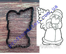 Вырубка Дед Мороз с елкой, высота 10см