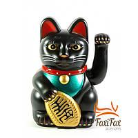 Кошка Манэки Нэко машущая лапой Black