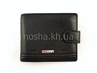 Кожаный мужской кошелек - портмоне горизонтальный двойного сложения классический черный
