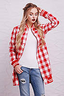 Женская рубашка в клетку, на байке, красная, размер 46
