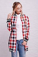Женская рубашка в клетку, на байке, красно/синяя, размер 46