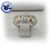 Женское серебряное кольцо с золотыми пластинами Олимпия.
