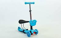 Самокат со светящимися колесами и сидением MicroMax Mini 0331 (голубой)