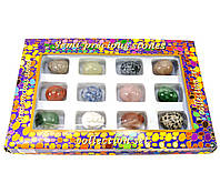 Яйца из полудрагоценных камней (н-р/12шт) (яйцо h-3 см d- 2.5 см) (упаковка 27х18х3,5 см)