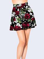 Юбка-клеш Розы на чёрном