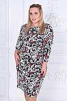 Стильное женское платье батал цветочного принта Код:588663377