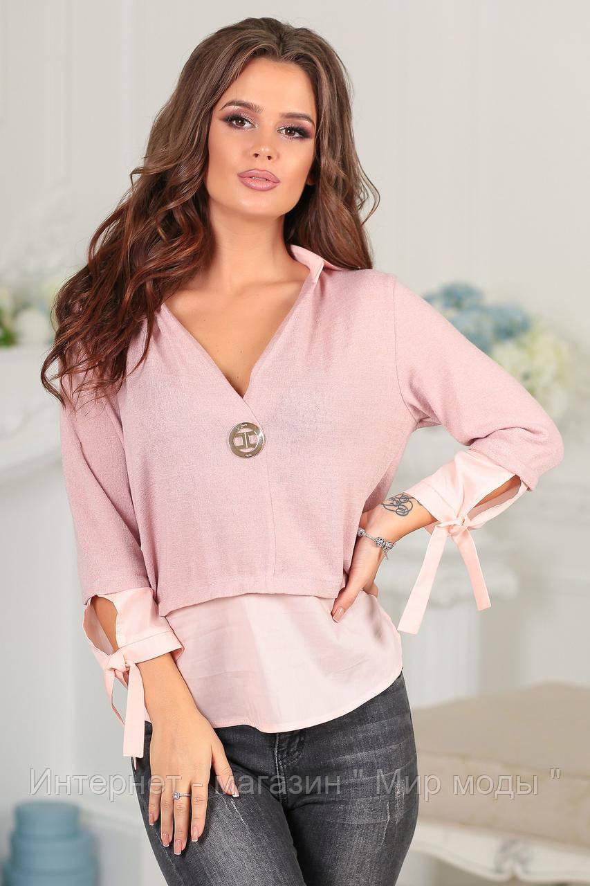 Женская блузка обманка с глубоким вырезом и завязках на рукавах  Код 589857047 2fcc08c1a5c