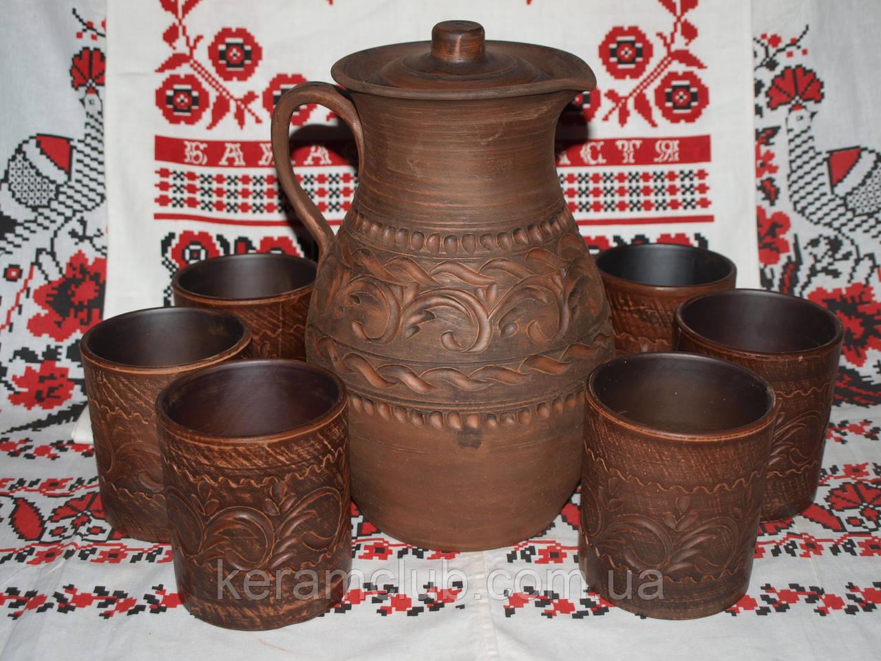 Набор из красной глины кувшин 3 л + 6 стаканов